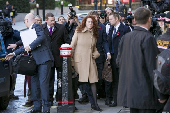 The scrum around defendant Rebekah Brooks at the Old Bailey. Pic courtesy Inforrm Blog